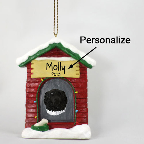 Newfoundland Personalized Dog House Christmas Ornament Landseer