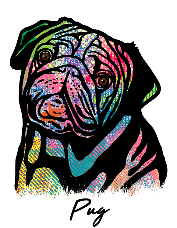 Pug T Shirt Colorful Abstract