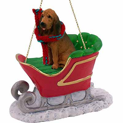 Bloodhound Sleigh Ride Christmas Ornament