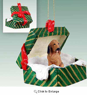 Bloodhound Gift Box Christmas Ornament