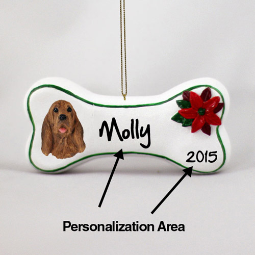 Bloodhound Personalized Dog Bone Christmas Ornament