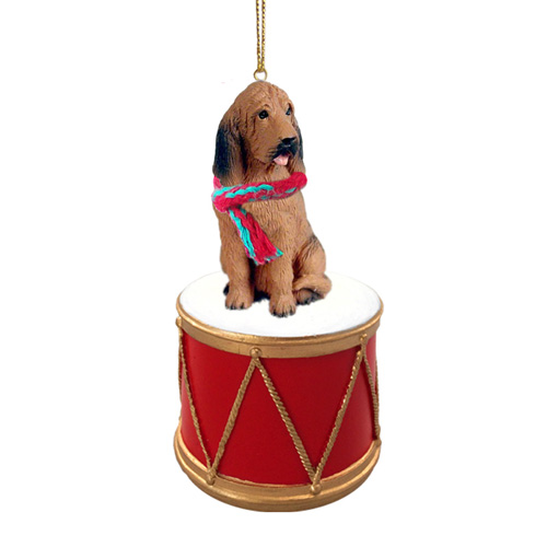 Little Drummer Bloodhound Christmas Ornament