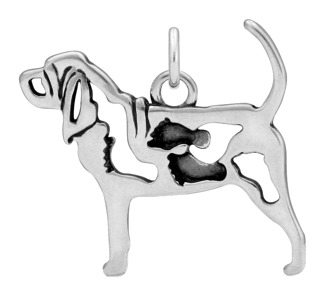 Sterling Silver Bloodhound W/Feet Body Necklace