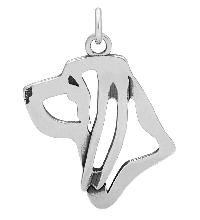 Sterling Silver Bloodhound Head Necklace