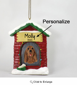 Bloodhound Personalized Dog House Christmas Ornament