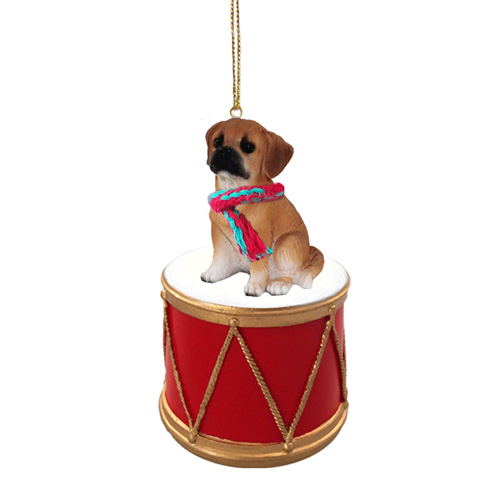 Little Drummer Puggle Brown Christmas Ornament