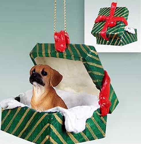 Puggle Gift Box Christmas Ornament Brown