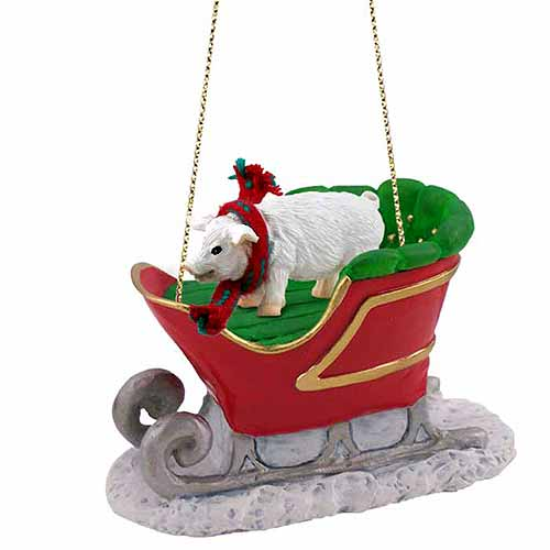 Pig Sleigh Ride Christmas Ornament Pink