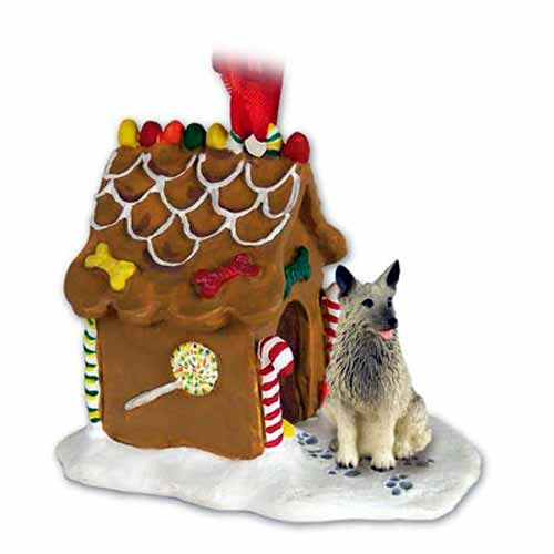 Norwegian Elkhound Gingerbread House Christmas Ornament