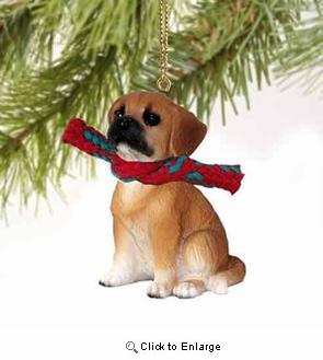 Puggle Tiny One Christmas Ornament Brown