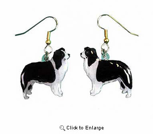 Border Collie Earrings Hand Painted Acrylic