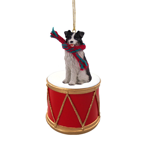 Little Drummer Border Collie Christmas Ornament