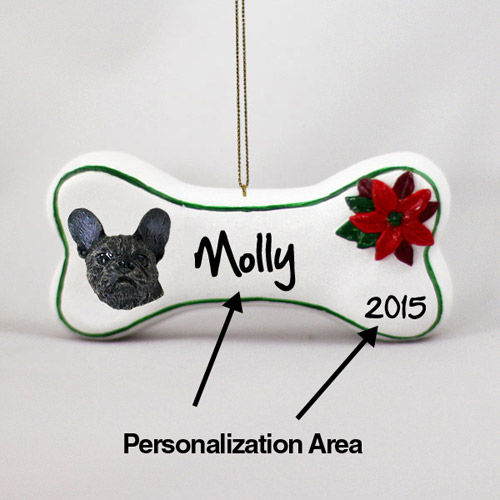 French Bulldog Personalized Dog Bone Christmas Ornament