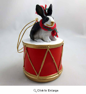 Little Drummer Black & White Rabbit Christmas Ornament