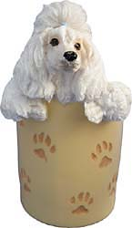 White Poodle Pencil Holder