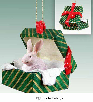 Rabbit Gift Box Christmas Ornament White