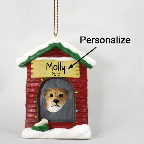 Border Terrier Personalized Dog House Christmas Ornament