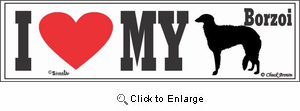 Borzoi Bumper Sticker I Love My