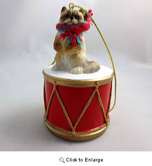 Little Drummer Ragdoll Cat Christmas Ornament