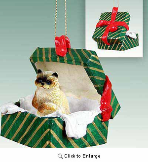 Ragdoll Cat Gift Box Christmas Ornament