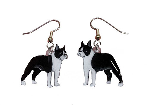 Boston Terrier Earrings Hand Painted Acrylic