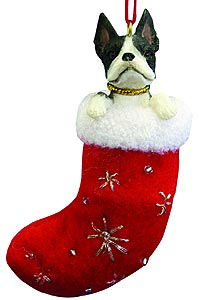 Boston Terrier Christmas Stocking Ornament