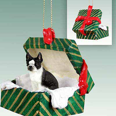 Boston Terrier Gift Box Christmas Ornament