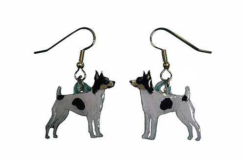 Rat Terrier Earrings Hand Painted Acrylic