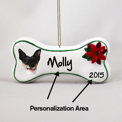 Rat Terrier Personalized Dog Bone Christmas Ornament