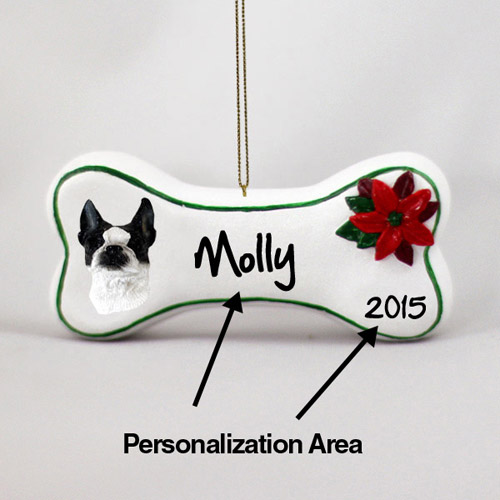 Boston Terrier Personalized Dog Bone Christmas Ornament