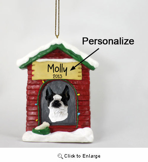 Boston Terrier Personalized Dog House Christmas Ornament