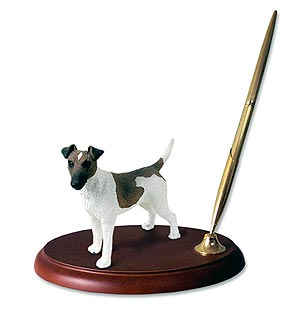 Fox Terrier Pen Holder (Brown & White)