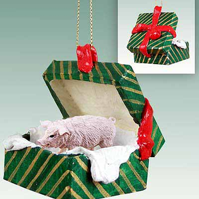 Pig Gift Box Christmas Ornament Pink