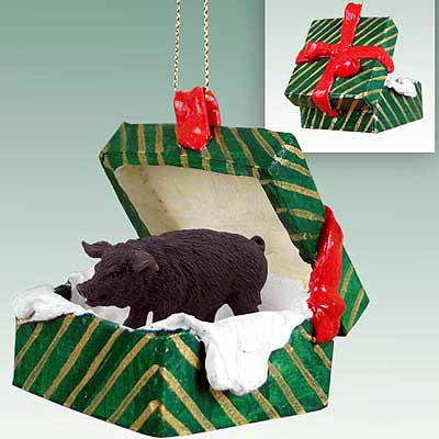 Pig Gift Box Christmas Ornament Black