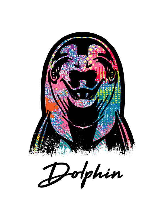 Dolphin T Shirt Colorful Abstract