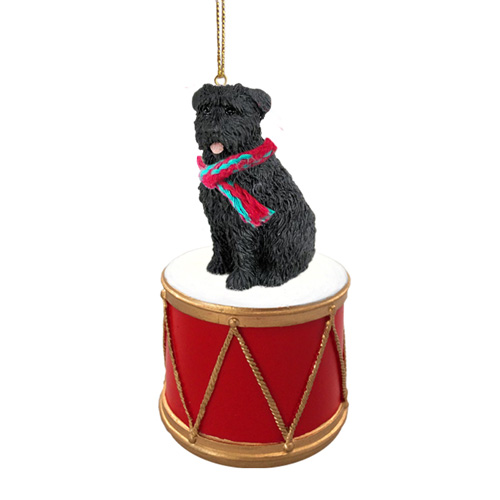 Little Drummer Bouvier Des Flandres Uncropped Christmas Ornament