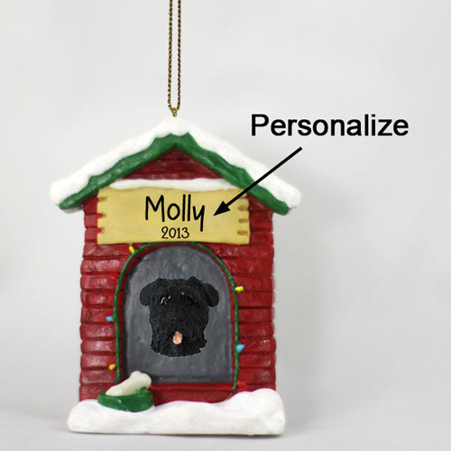 Bouvier Des Flandres Personalized Dog House Christmas Ornament Uncropped