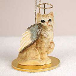Tabby Cat Christmas Ornament Angel (Red)