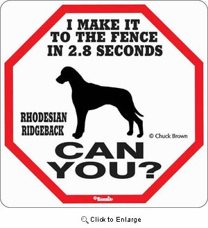Rhodesian Ridgeback 2.8 Seconds Sign