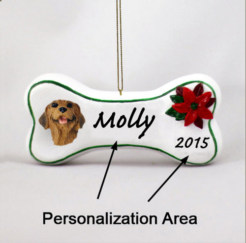 Rhodesian Ridgeback Personalized Dog Bone Christmas Ornament