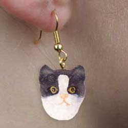 Black & White Cat Authentic Earrings