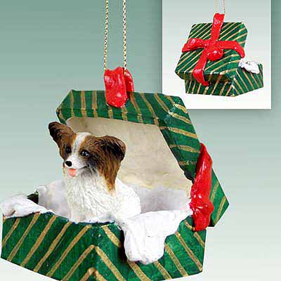 Papillon Gift Box Christmas Ornament Brown-White