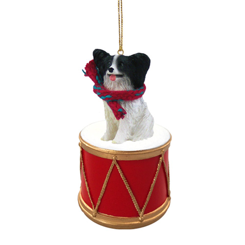 Little Drummer Papillon Black-White Christmas Ornament