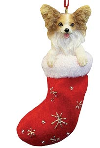 Papillon Christmas Stocking Ornament