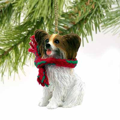 Papillon Tiny One Christmas Ornament Brown-White