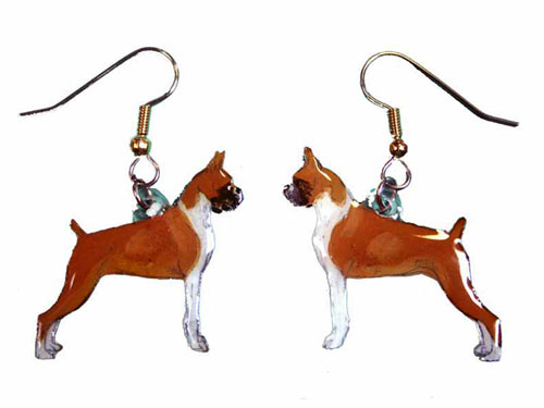 Boxer Earrings Cropped Hand Painted Acrylic
