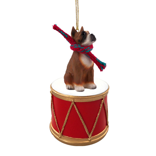 Little Drummer Boxer Christmas Ornament