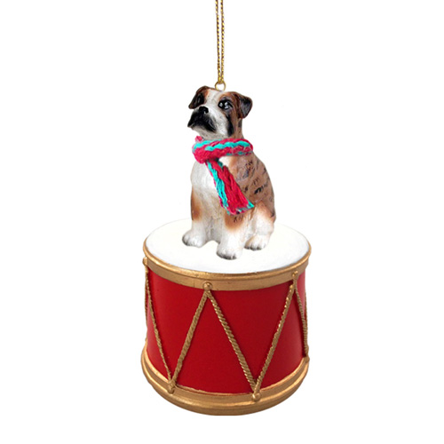 Little Drummer Boxer Brindle Uncropped Christmas Ornament