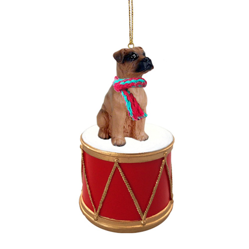 Little Drummer Boxer Tawny Uncropped Christmas Ornament