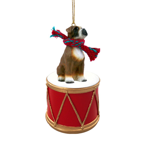 Little Drummer Boxer Uncropped Christmas Ornament